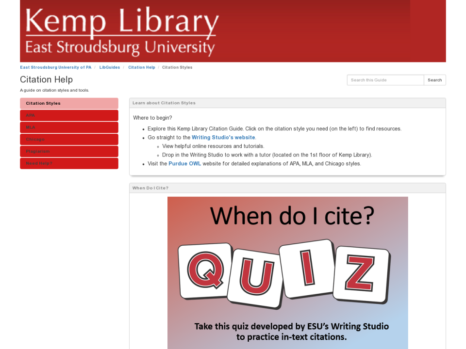 Image of Citation Help LibGuide